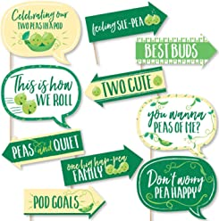 Funny Double the Fun - Twins Two Peas in a Pod - Baby Shower or First Birthday Party Photo Booth Props Kit - 10 Piece