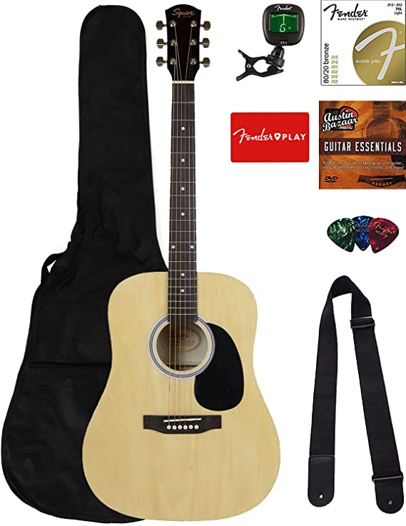 Fender Squier Dreadnought Acoustic Guitar - Natural Bundle with Fender Play Online Lessons