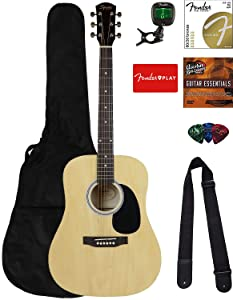 Fender Squier Dreadnought Acoustic Guitar - Natural Bundle with Fender Play Online Lessons, Gig Bag, Tuner, Strings, Strap, Picks, and Austin Bazaar Instructional DVD