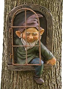 Bits and Pieces - Elf Out The Door Tree Hugger - Garden Peeker Yard Art - Whimsical Tree Sculpture Garden Decoration