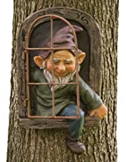 Bits and Pieces - Emerging Elf Tree Hanger - Durable Garden Peeker Yard Art - Whimsical Tree Sculpture Garden Decoration