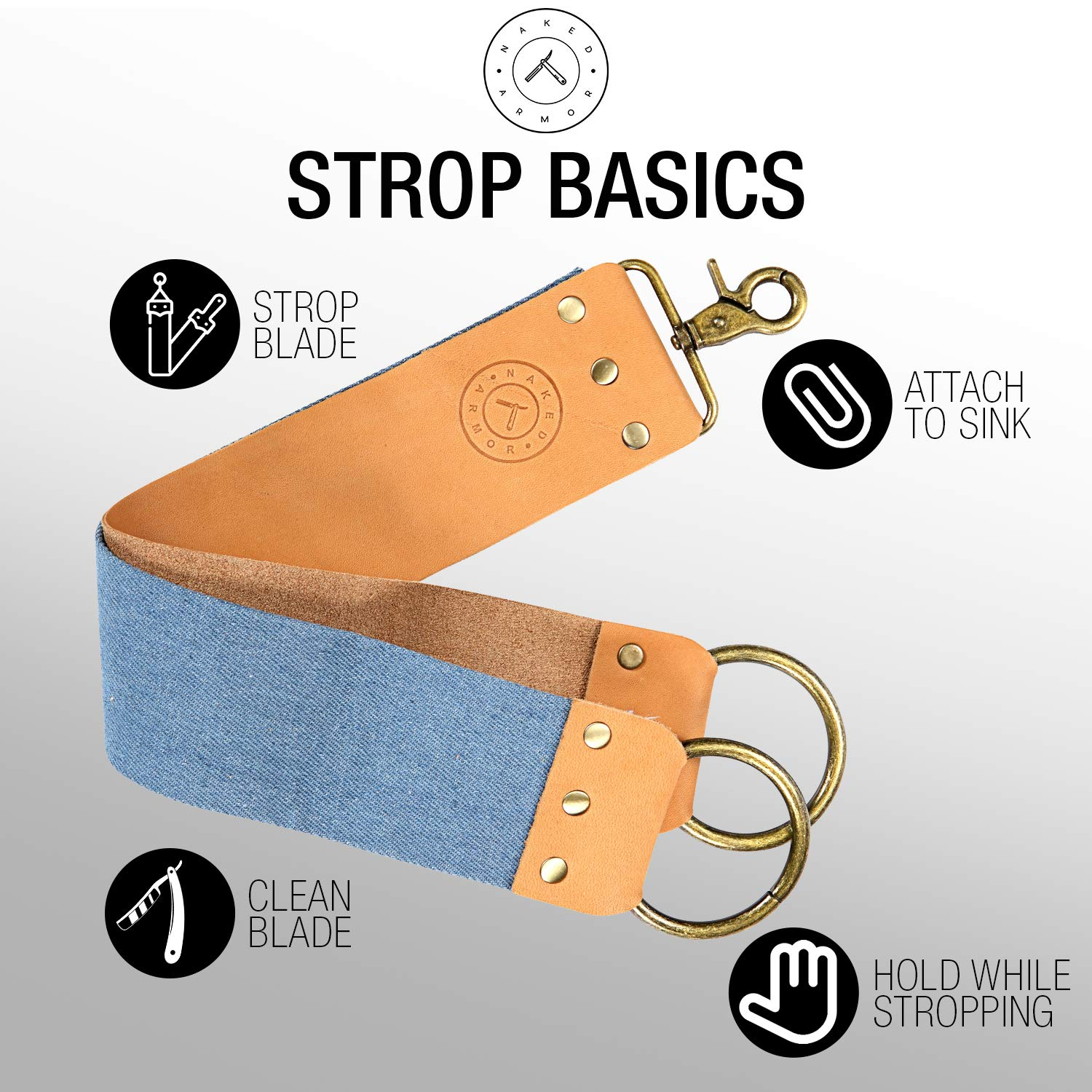 86deb4c2360 Amazon.com   Leather Strop Knife Strop + Razor Strop - Keep your Blades  Sharp. Riveted Brass Anchor Hooks. Blue Linen Stropping Belt For Cleaning.
