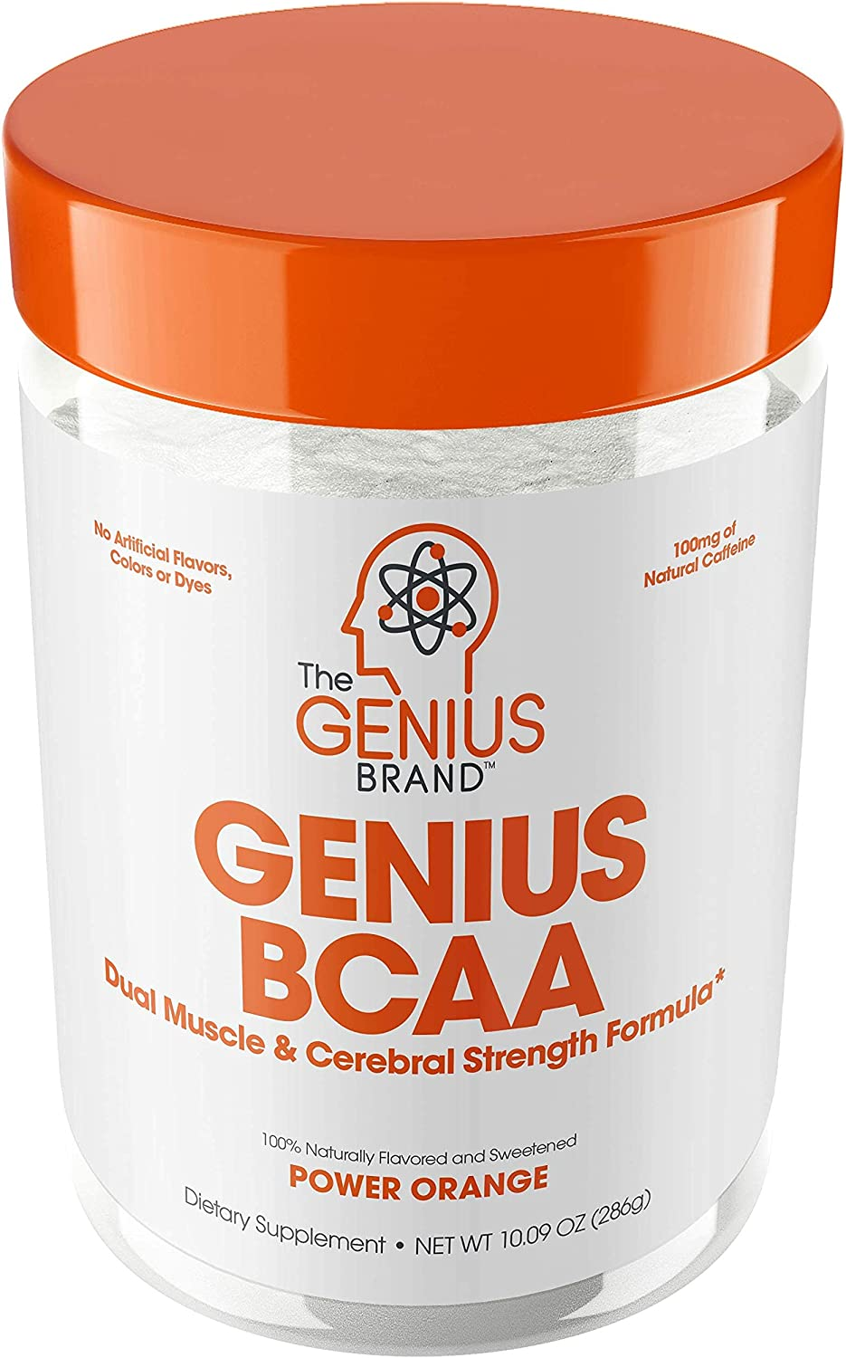 Genius Bcaa Powder with Focus & Energy – Multiuse Natural Vegan Preworkout Bcaas for Mental Clarity and Faster Muscle Recovery, Orange, 21sv, 286g