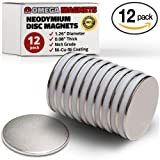 """Strong Neodymium Disc Magnets (12 Pack) - 35% Stronger, 25% Thicker, Less Likely to Break than N52 - 1.26"""" x 0.08"""" Round Permanent NdFeB Rare Earth Magnets for Fridge, Crafts, DIY, Projects, Office"""