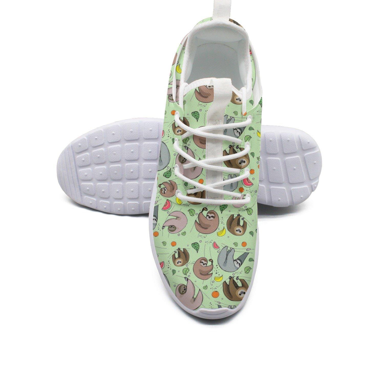 Ether Dobbin Women's Happy Sloth Eating Fruit Elastic Lightweight Running Shoes Breathable Mesh Walking Sneakers