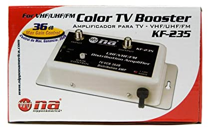 Nippon America 36 DB Cable Antenna Color TV Booster Signal Amplifier VHF UHF FM HDTV