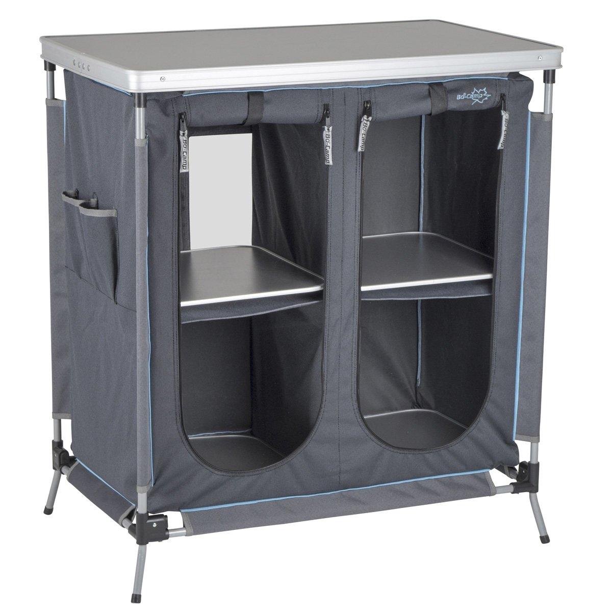Küchenschrank mit stabilem Stahlrahmen, verstellbare Beine und Tragetasche 80 cm lang • Campingschrank Campingküche Faltschrank Campingzubehör Zeltzubehör