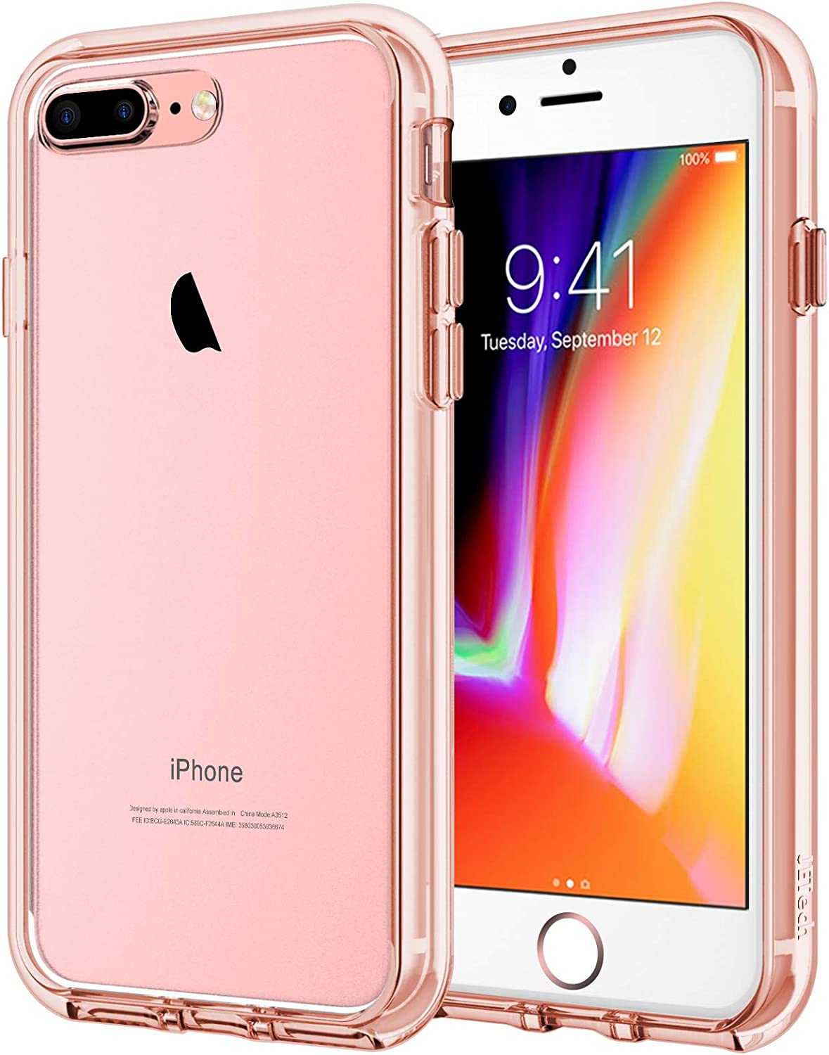 JETech Case for iPhone 8 Plus and iPhone 7 Plus 5.5-Inch, Shock-Absorption Bumper Cover, Anti-Scratch Clear Back (Rose Gold)