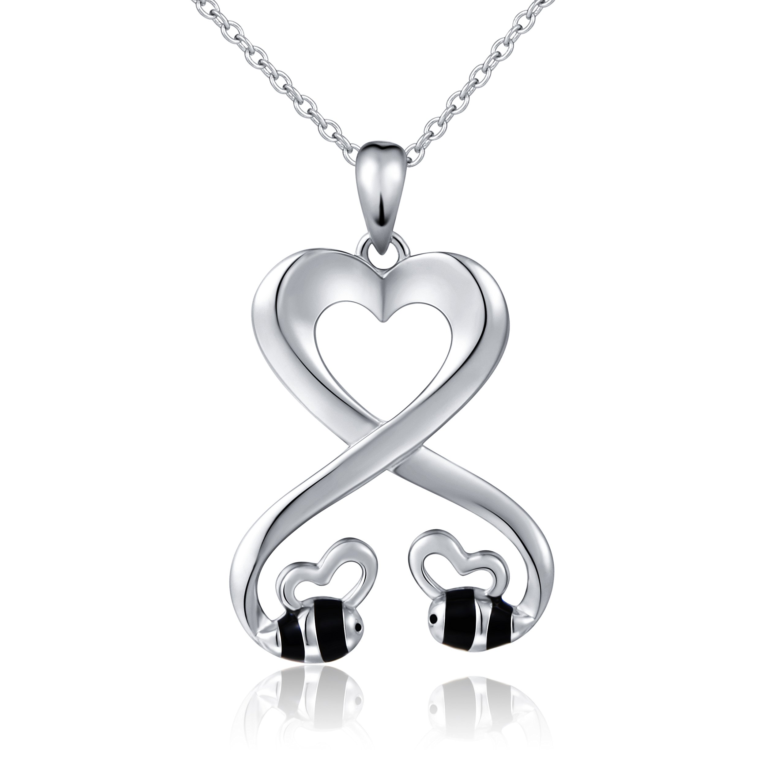 925 Sterling Silver Double Bees Infinity Love Heart Pendant Necklace for Girlfriend, 18''