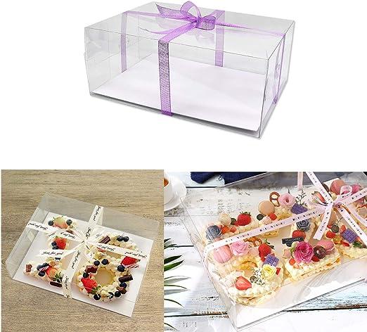 Poitemsis - Caja de plástico transparente para tarta de cumpleaños, caja de embalaje para decoración de tartas, paquete de 6: Amazon.es: Hogar