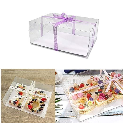 Poitemsis - Caja de plástico transparente para tarta de ...