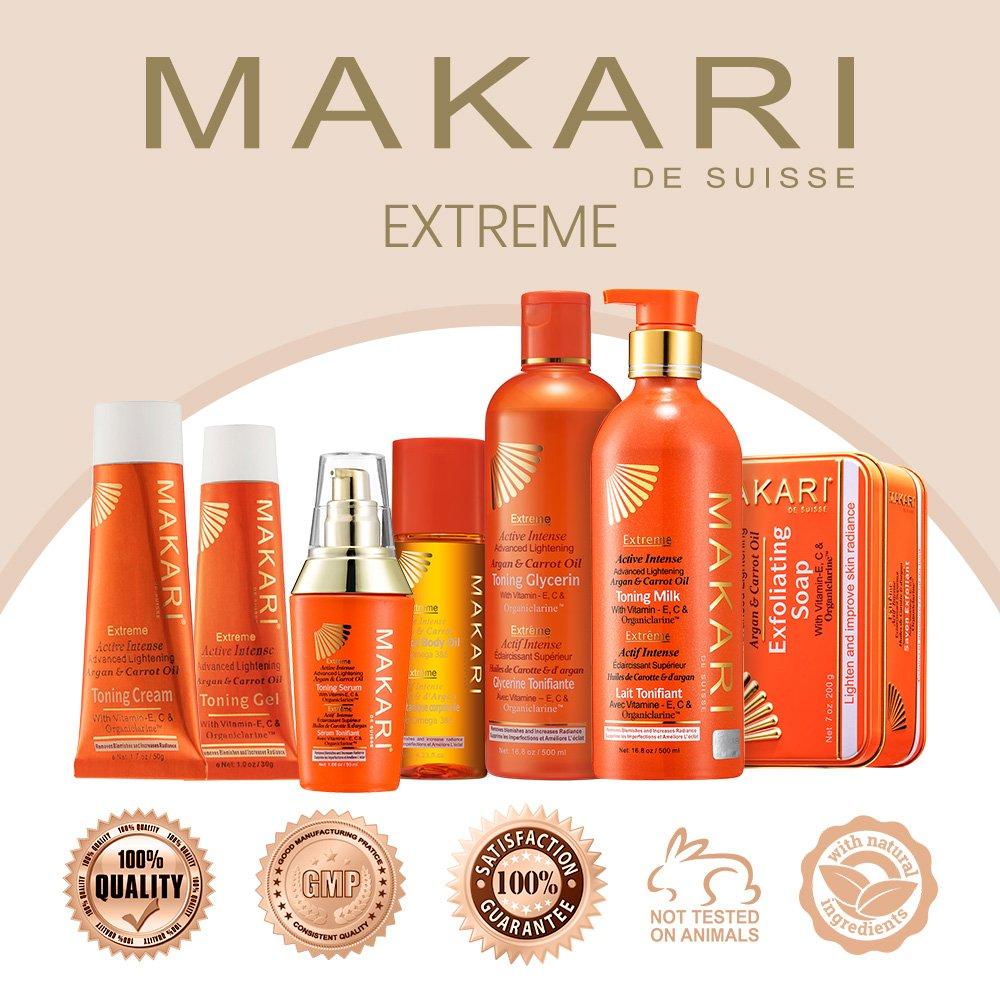 Makari Extreme Carrot & Argan Oil Skin Toning BODY MILK 16.8oz – Lightening, Brightening & Tightening Body Lotion with Organiclarine – Whitening & Anti-Aging Treatment for Dark Spots, Acne by MAKARI (Image #4)