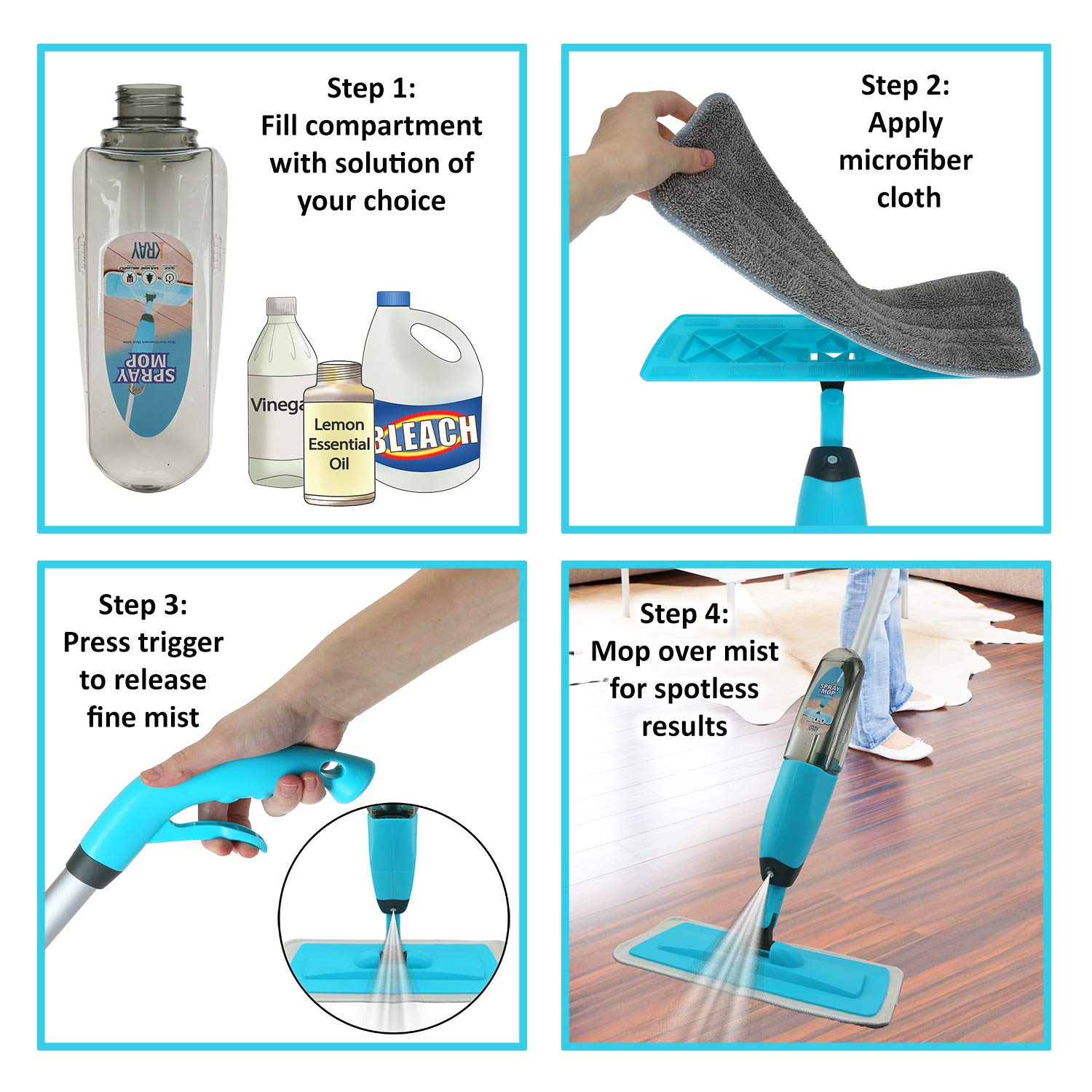 Spray Mop Strongest Heaviest Duty Mop - Best Floor Mop Easy To Use - 360 Spin Non Scratch Microfiber Mop With Integrated Sprayer - Includes Refillable 700ml Bottle & 2 Reusable Microfiber Pads by Kray by Kray (Image #3)