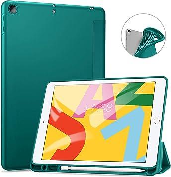 Image of Ztotops Funda para iPad 10.2 2019 (iPad 7) Ultra Delgada Smart Cover Carcasa con Soporte Apple Pencil, Funda Tríptica Inteligente con Ranura para Lápiz Táctil, Función de Auto-Sueño/Estela,Verde Scuro