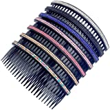 "Casualfashion Women 24 Teeth Hair Comb Pin Clip Double Rows Rhinestone Hair Side Combs 4.72"" Length, 5-count"