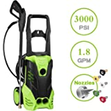 Tagorine Pressure Washer, 3000PSI Power Washer, Electric Pressure Washer,High Pressure Washer Cleaner Machine with Hose Reel, 5 Nozzles,1800W Rolling Wheels