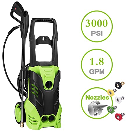 Oanon High Pressure Power Washer 3000 PSI Electric Pressure Washer,1800W Rolling Wheels High Pressure Professional Washer Cleaner Machine 5 Nozzle Adapter 3000 PSI-New Models