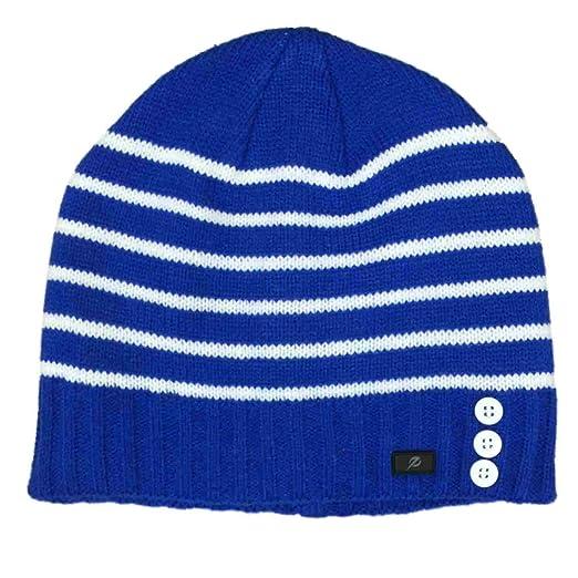 a8ea0fd5e549c4 Energy Zone Womens Blue & White Stripe Button Beanie Hat Knit Active ...