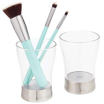 mDesign Juego de 2 porta cepillos en plástico sin BPA – Soporte inoxidable para accesorios de