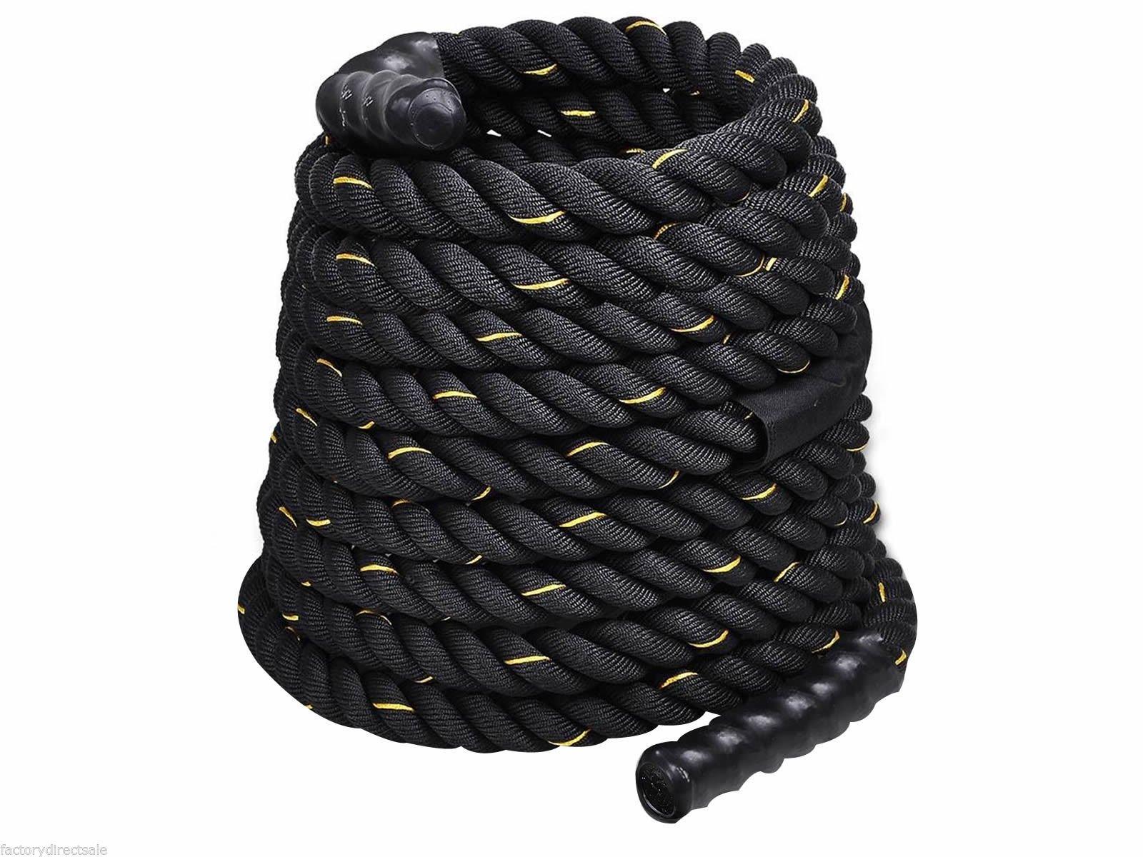 Giantex 1.5'' Workout Strength Training Undulation Poly Dacron Battle Rope Black (30ft)