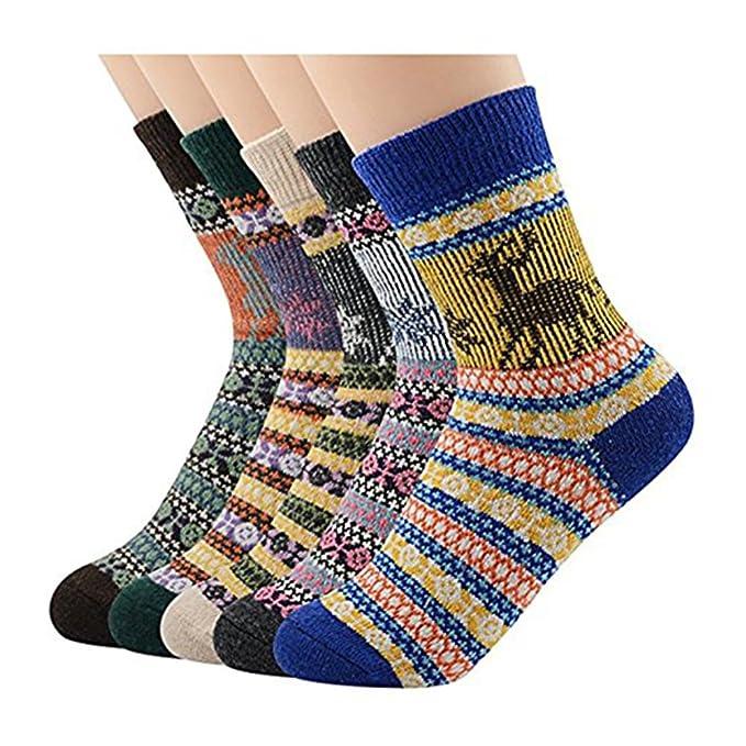 Ruisen Calcetines de lana gruesos para mujer Calcetines ocasionales de punto grueso con diseño retro 5: Amazon.es: Ropa y accesorios