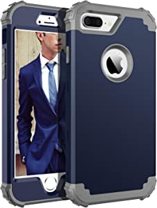 BENTOBEN Case for iPhone 8 Plus/iPhone 7 Plus, 3 in 1 Hybrid Hard PC Soft Rubber Heavy Duty Sturdy Rugged Bumper Shockproof Full-Body Protective Phone Cases for iPhone 7 Plus/8 Plus, Navy Blue/Gray