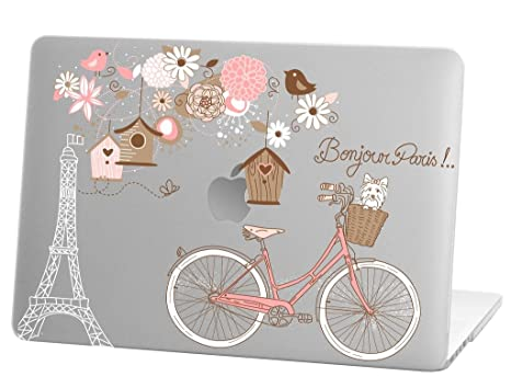 Macbook Pro 13 inch Rubberized Hard Case for model A1706 & A1708 with/without Touch Bar, Bonjour Paris Design with Clear Bottom Case