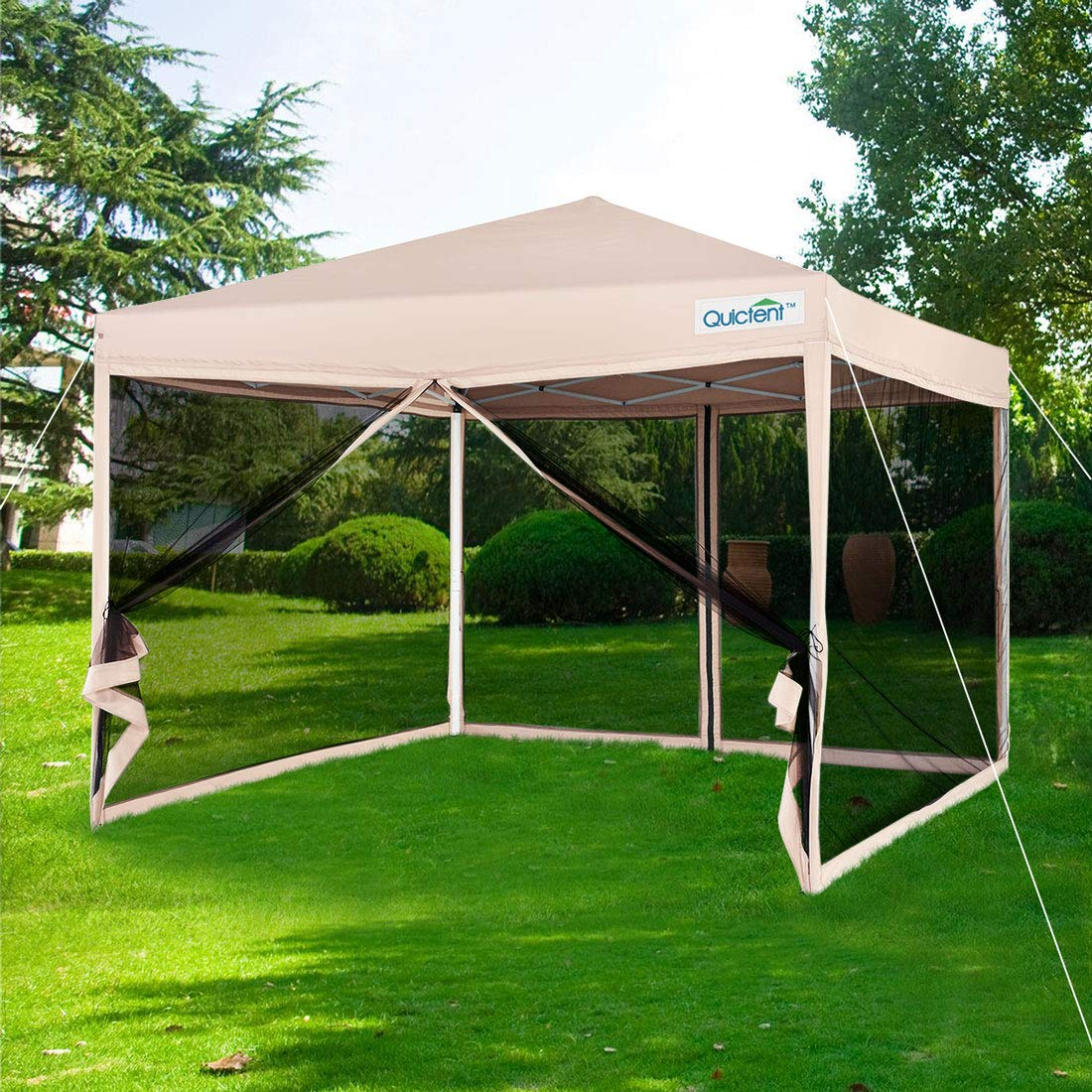 Quictent 8x8 Ez Pop up Canopy with Netting Instant Gazebo Mesh