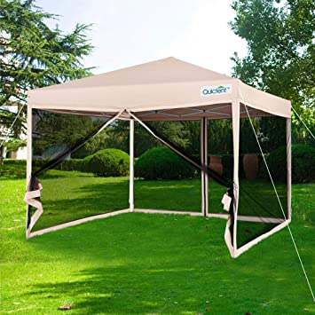 new product 44110 44dad Quictent 8x8 Ez Pop up Canopy with Netting Instant Gazebo Mesh Side Wall  Screen House with Roller Bag Tan