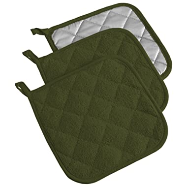 DII, Cotton Terry Pot Holders, Heat Resistant and Machine Washable, Set of 3, Sage