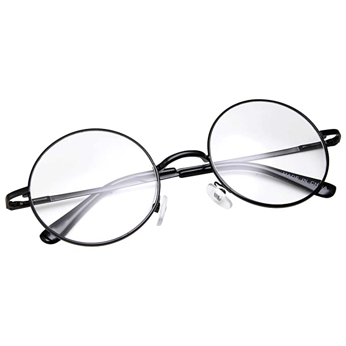 be8ee15e34 grinderPUNCH - Non-Prescription Round Circle Frame Clear Lens Glasses Small  Black  Amazon.in  Clothing   Accessories