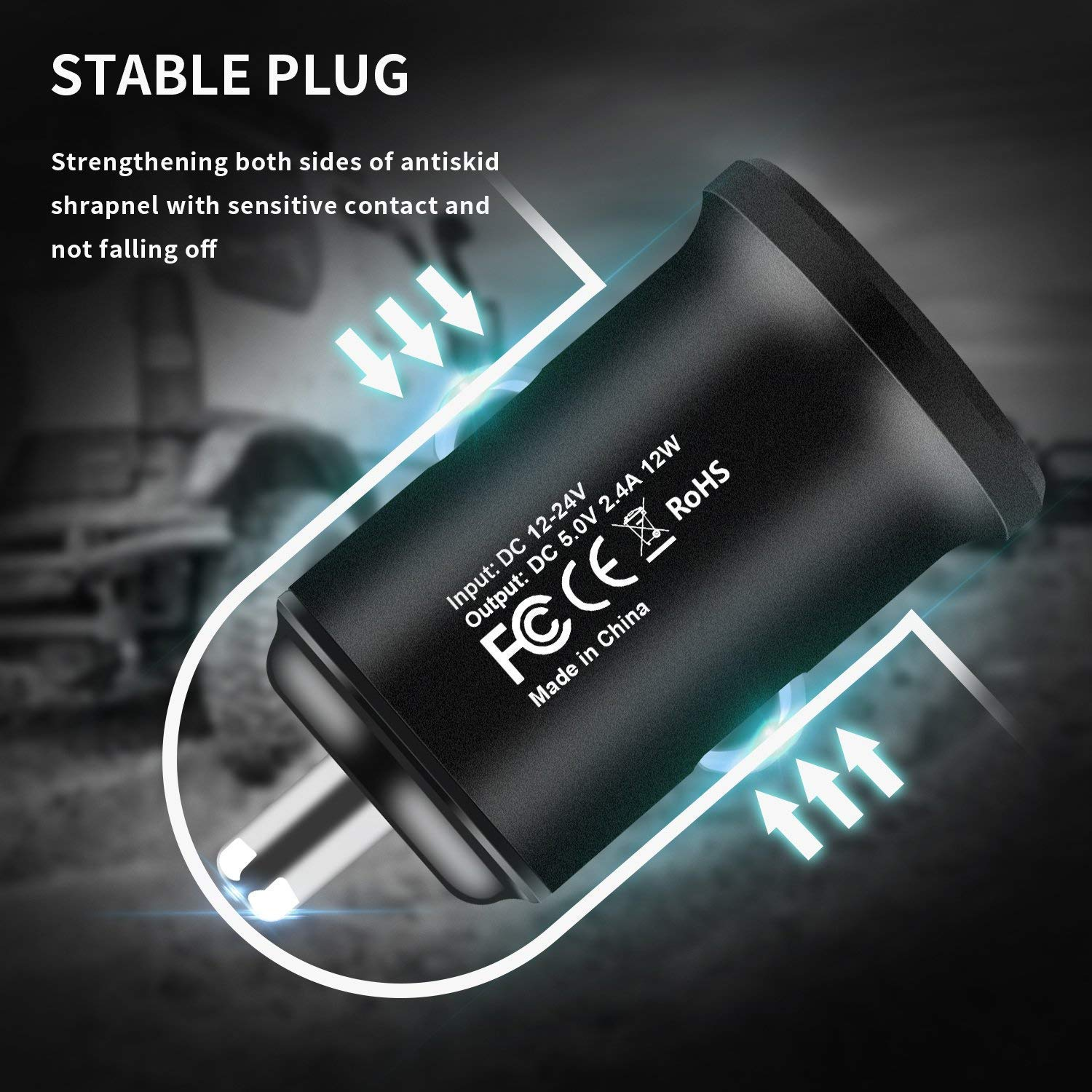 HEIRBLS Phone Car Charger Pad 24W//4.8A Rapid Dual Port USB Car Charger Adapter with LED Indicator Light and 3FT USB Cable Charging Cord for Phone XS X 8 7 Plus 6S 6 SE 5S 5 Black Blue
