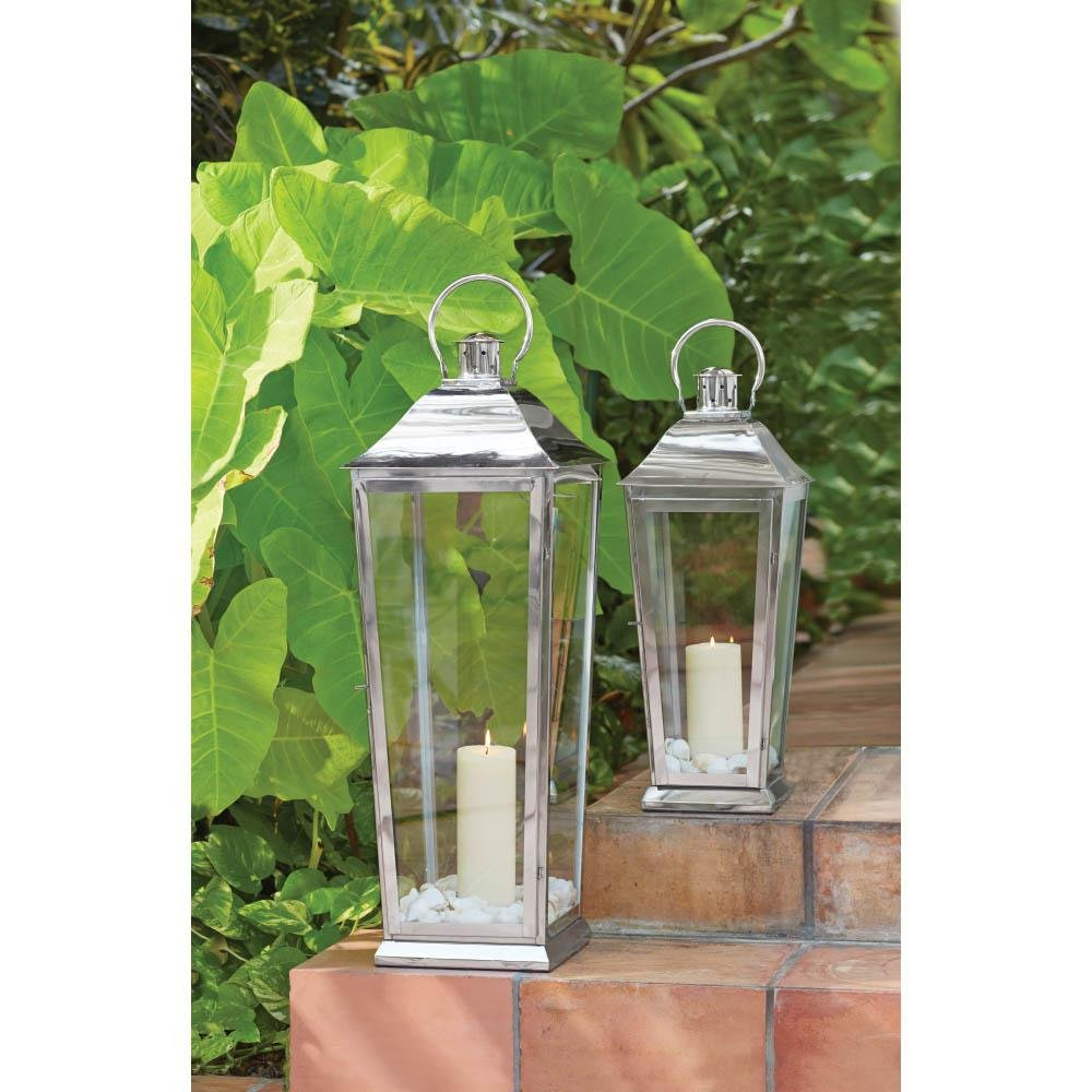 Home Decorators Collection Ravello 31 in. Candle Tapered Lantern in Polish Silver