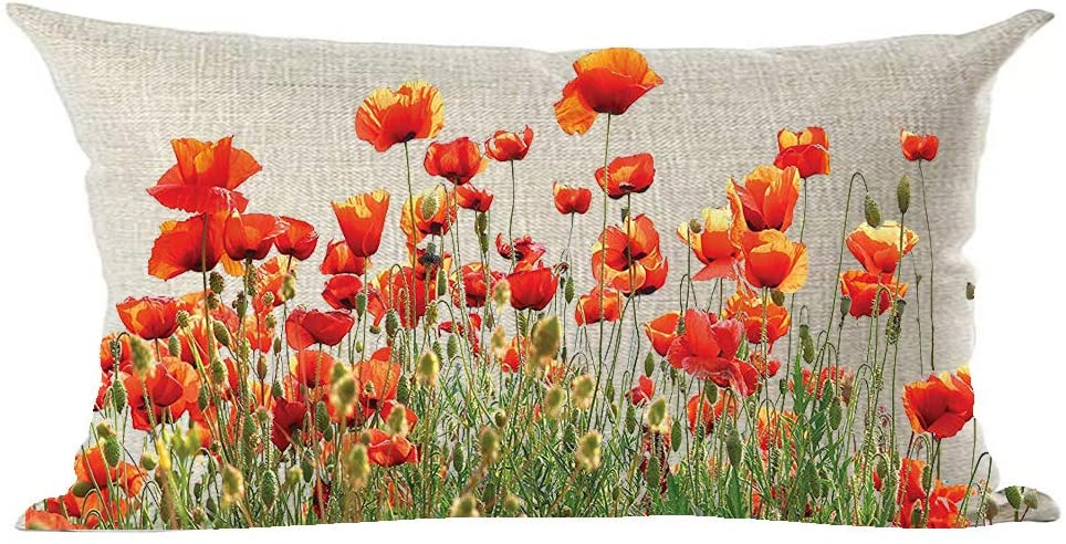 Amazon Com Ramirar Ink Painting Watercolor Beautiful Red Orange Poppy Flowers Decorative Lumbar Throw Pillow Cover Case Cushion Home Living Room Bed Sofa Car Cotton Linen Rectangular 12 X 20 Inches Home