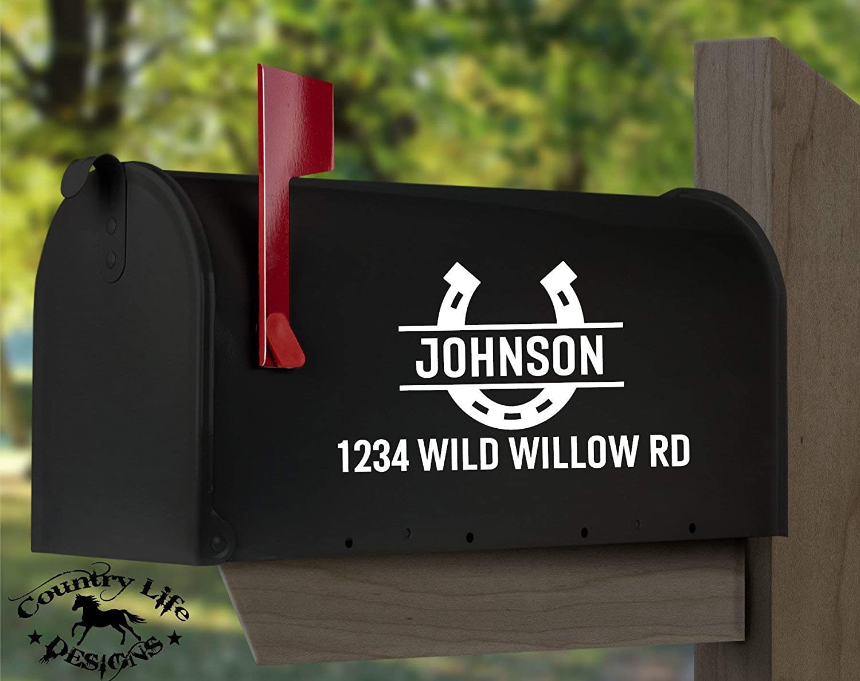 Western Mailbox Numbers Street Address Decal Custom Split Horse Shoe
