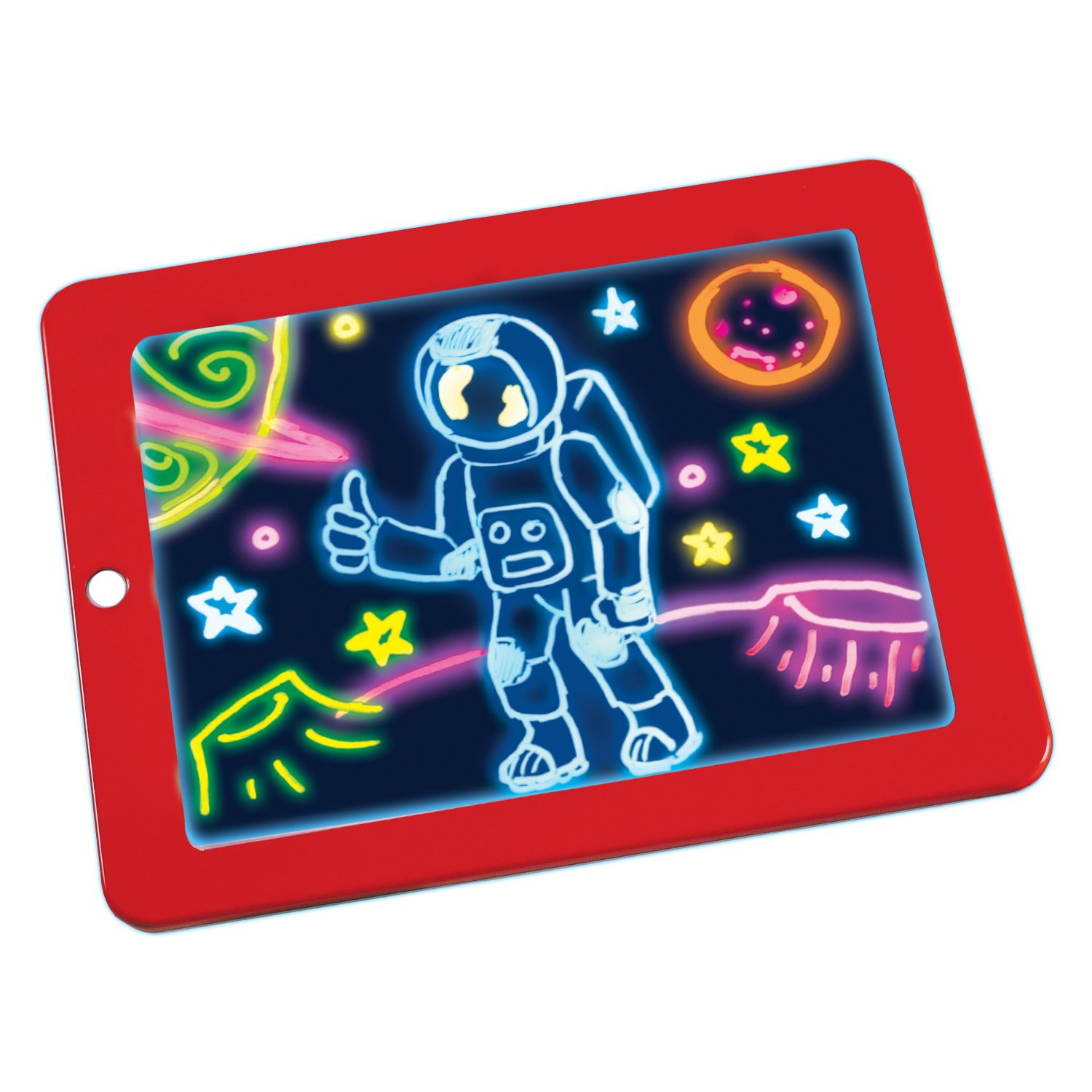 Ontel magic pad light up led board draw sketch create doodle art write learning tablet includes 3 dual side markets 30 stencils and 8 colorful
