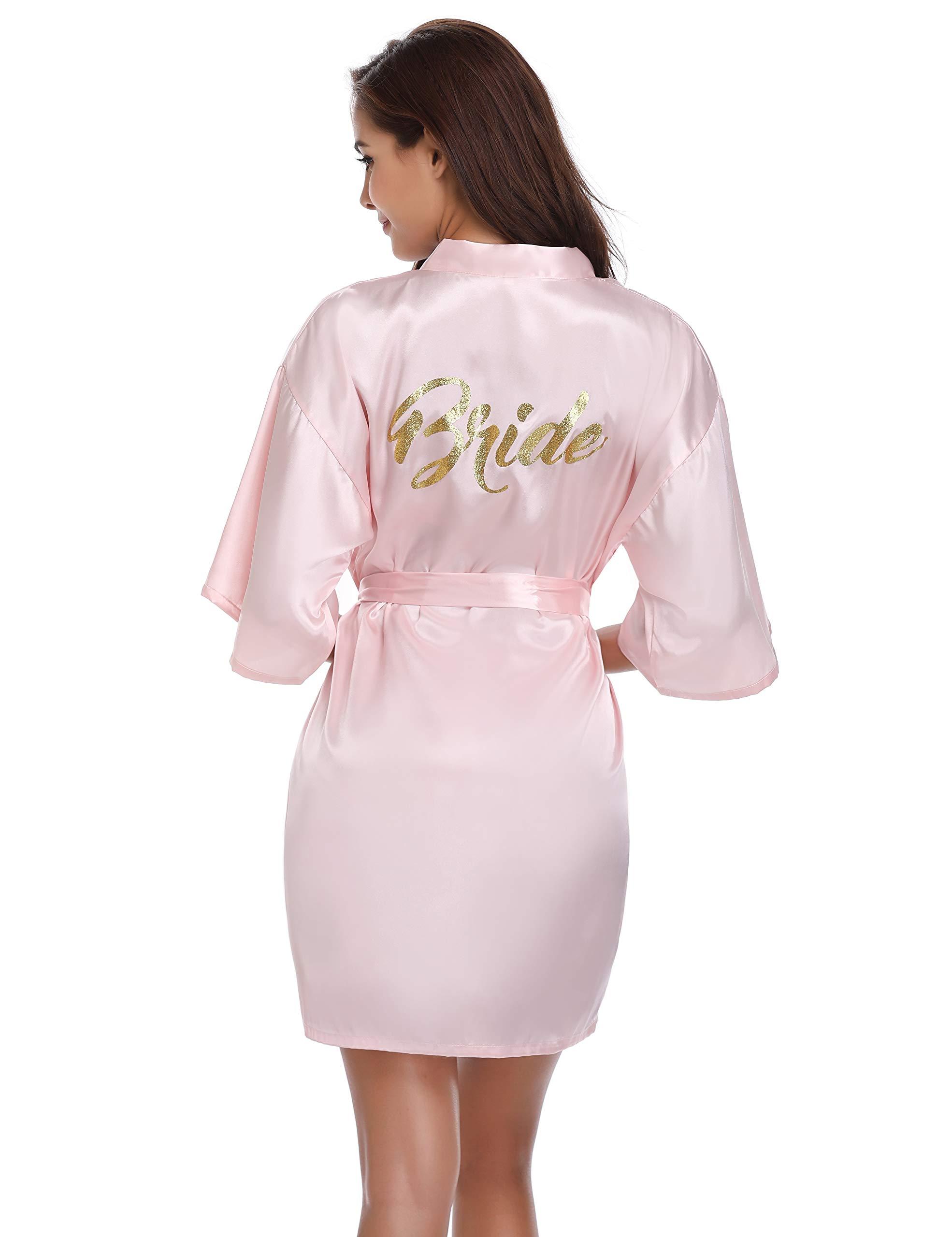 Vlazom Bridal Bridesmaid Robes Silk Bride Party Robes Dressing Gwon, Wedding Day Robes, Glitter Bridesmaid Kimono Bathrobe