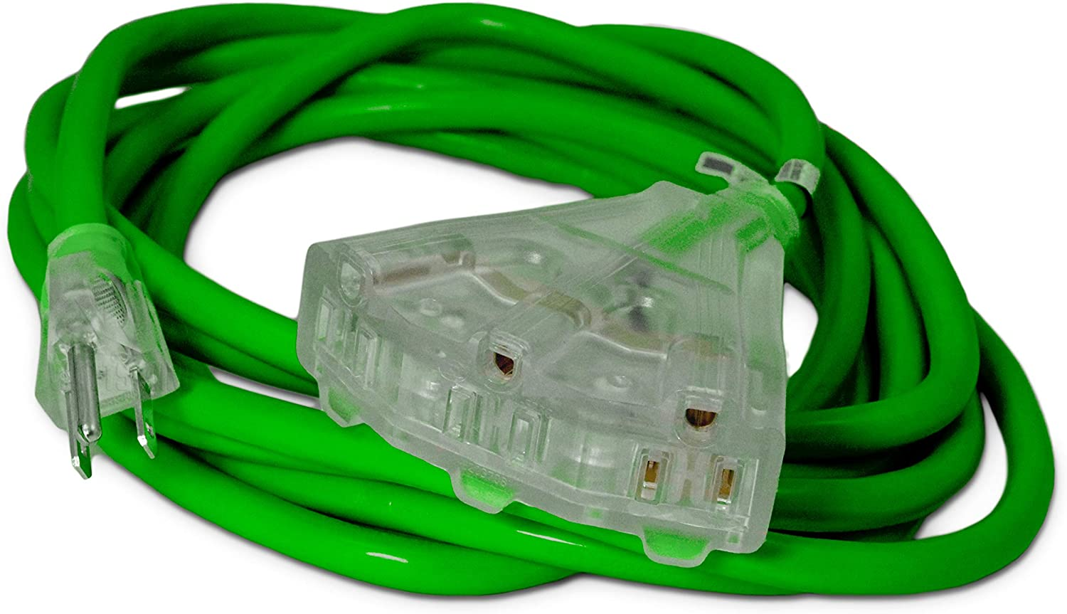 15-ft 14/3 Heavy Duty 3-Outlet Lighted SJTW Indoor/Outdoor Extension Cord by Watt's Wire - Green 15' 14-Gauge Grounded 15-Amp Three-Prong Power-Cord (15 foot 14-Awg)