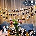 RunTo 40 LED Photo Clips USB Battery Powered Fairy String Lights