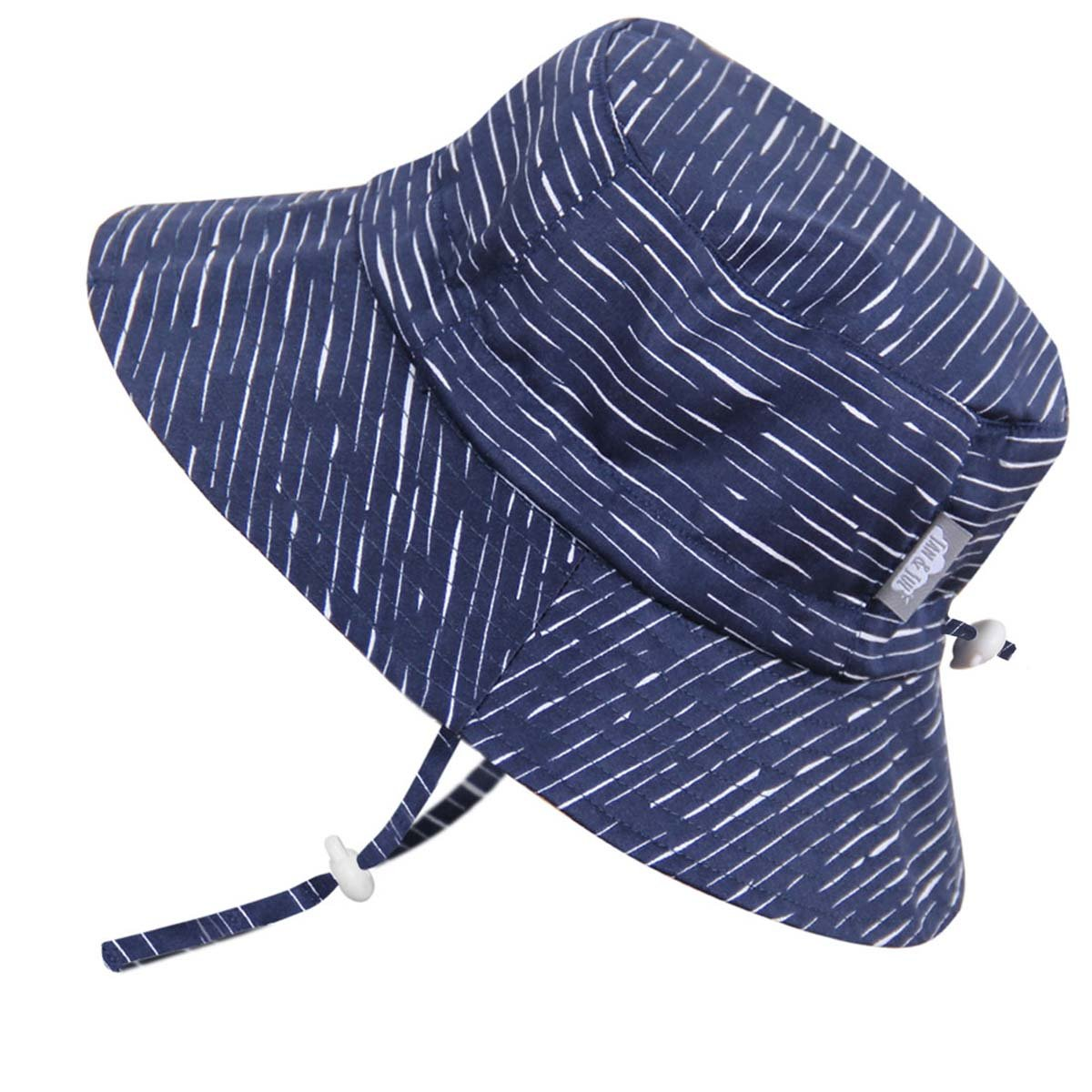 Stay-on Boys Sun Protection Hats 50+ UPF, Drawstring Adjustable, Breathable (L: 2-12Y, Bucket Hat: Navy Waves)