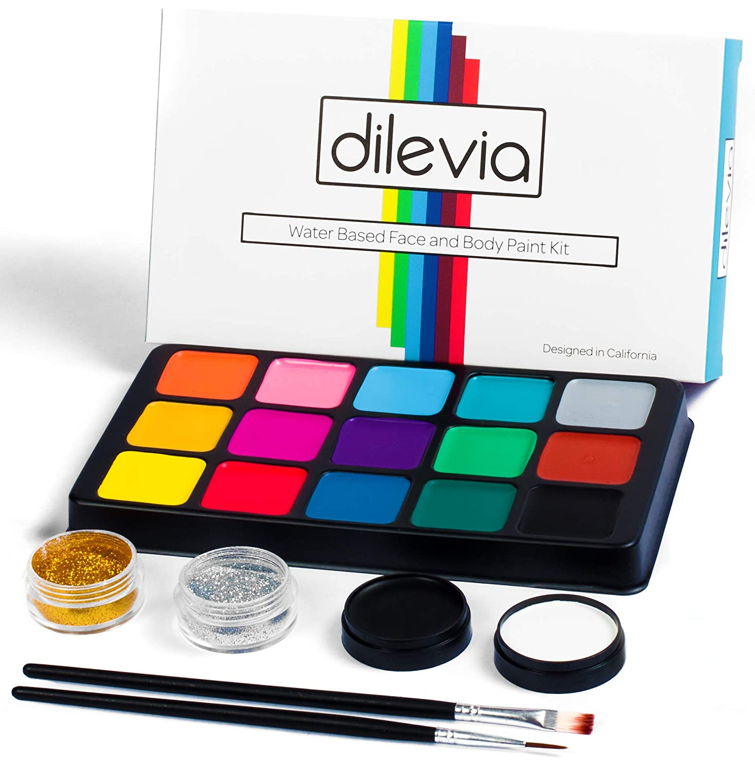 Face Paint Kit for Kids by Dilevia - Professional Cosmetic Grade Palette, 15 Vibrant Colors, 60 Reusable Stencils, 2 Glitters, 4 Sponges, 2 Brushes, Hypoallergenic, Fragrance-Free, Non-Toxic