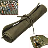 "Yosoo Roll Up Canvas Artist Watercolor Draw Pen Oil Paint Brush Bag Case Holder 18""X14"", 22 Slot"