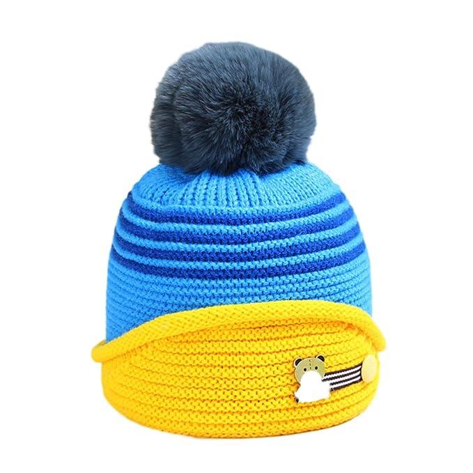 Baby Jungen Mädchen Strickmütze Bommelmütze Warm Gestrickt Hüte ...