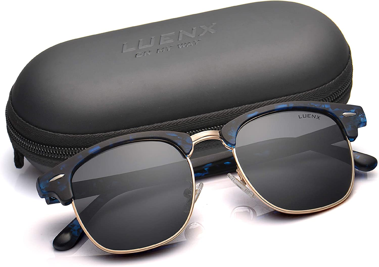 LUENX Gafas de sol polarizadas clásicas para hombres y mujeres con funda Negro Negro-5 M: Amazon.es: Ropa y accesorios