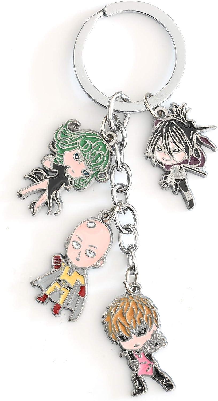 One Punch Man Key Ring Fashion Novelty Matel Pendant Keychain Anime Manga Series Saitama Genos Tornado Speed-o'-Sound Sonic