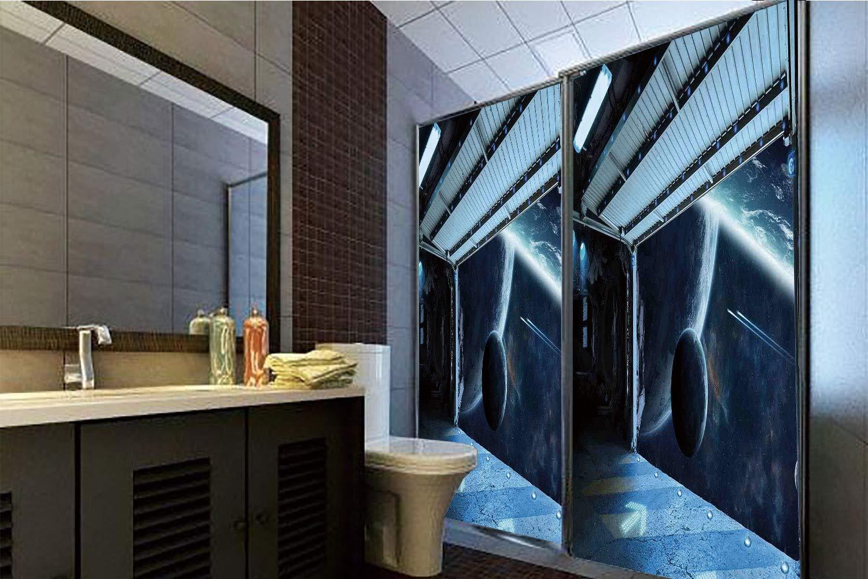 Horrisophie dodo 接着剤不要 静電気付着ガラスステッカー 宇宙装飾 国際駅 地球上でのコミュニケーションオービング ロケット写真 多機能 高さ35.43インチ×幅23.62インチ 自宅&オフィス用 39.37