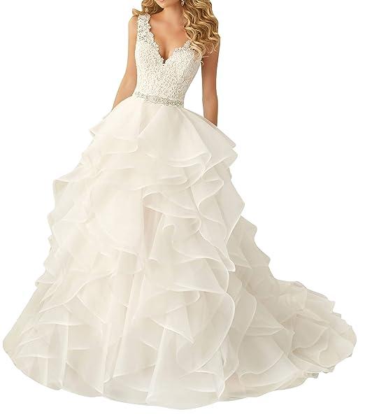 Amazon.com: Vestido de novia para novia de encaje vestidos ...