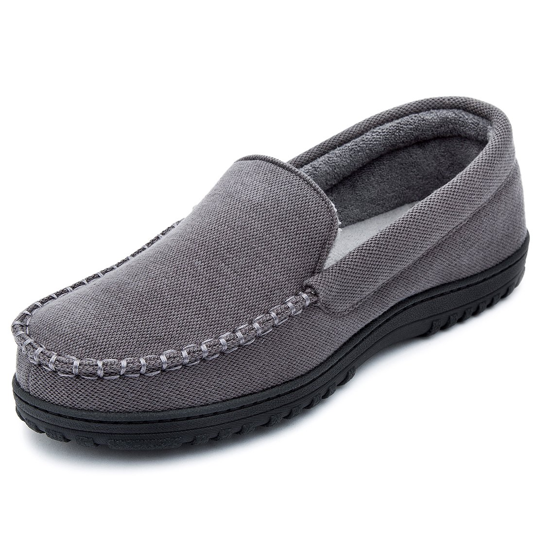 Cozy Niche Men's Moccasin Slippers, Anti-Slip House Shoes, Indoor Outdoor Rubber Sole Loafers (12 D(M) US, Dark Gray) by Cozy Niche
