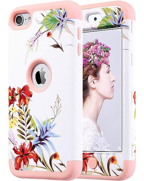 ULAK iPod 5 Caso, iPod Touch 6 Funda Carcasa híbrido de 3 Capas de Silicona a Prueba de Golpes Duro Caso Cubierta para iPod Touch 5ta / 6ta Gen, Flor ...