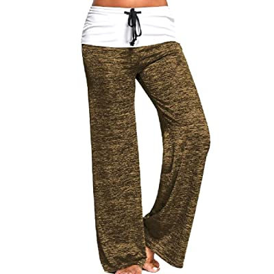 Abetteric Women's Breathable Mix Color Athletic Relaxed Trumpet Pant